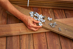 Ipe deck wood installation screws clips fasteners Stock Image