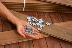 Ipe deck wood installation screws clips fasteners Royalty Free Stock Photo