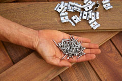 Ipe deck wood installation screws clips fasteners Royalty Free Stock Photos