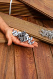 Ipe deck wood installation screws clips fasteners Stock Photos