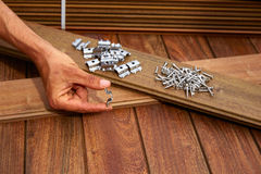 Ipe deck wood installation screws clips fasteners Stock Images