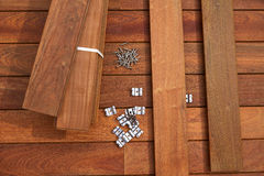 Ipe deck wood installation screws clips fasteners Royalty Free Stock Image