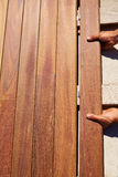 Ipe decking deck wood installation clips fasteners Royalty Free Stock Photo