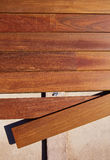 Ipe decking deck wood installation clips fasteners Royalty Free Stock Photos