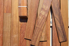 Ipe decking deck wood installation clips fasteners Royalty Free Stock Photography