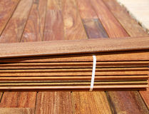 Ipe decking installation with wood slats Stock Photography