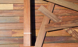 Ipe decking installation with wood slats Royalty Free Stock Photo