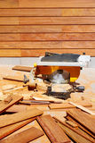 Ipe wood fence installation carpenter table saw Stock Photography