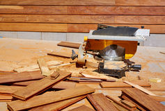 Ipe wood fence installation carpenter table saw Royalty Free Stock Photos
