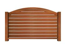 Ipe wooden railing with wooden balusters and curved top rail 3d Stock Image