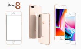 IPhone écran en blanc et blanc Front View de 8 d'Apple photo stock