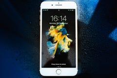 IPhone 7 συν την αδιάβροχη μπροστινή άποψη Στοκ Εικόνες