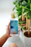 IPhone της Apple εκμετάλλευσης γυναικών 6S συν Στοκ εικόνες με δικαίωμα ελεύθερης χρήσης