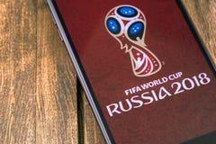 IPhone της Apple με το λογότυπο της Ρωσίας 2018 Παγκόσμιου Κυπέλλου της FIFA Ekaterinburg, Στοκ φωτογραφίες με δικαίωμα ελεύθερης χρήσης