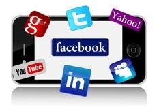 IPhone и социальные сети Стоковые Фото