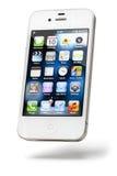 iPhone 4, blanc d'Apple, d'isolement Photographie stock libre de droits