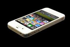 IPhone 4 die op zwarte achtergrond wordt geïsoleerdt stock afbeelding