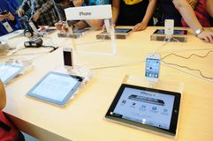 Iphone 4 display in Apple store Stock Photo