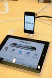 Iphone 4 display in Apple store Stock Images