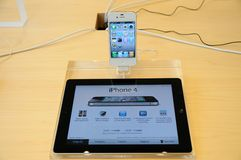 Iphone 4 display in Apple store Royalty Free Stock Images