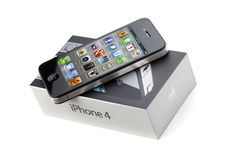 IPhone 4 over Box Stock Photos