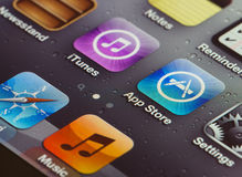 Iphone 4 touch screen. With focus on app store royalty free stock image