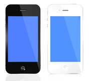 IPhone 4s black and white. Two black and white  iPhone 4s with blue  screen isolated on white Royalty Free Stock Photos