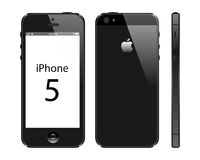 Iphone 5. New Apple Iphone 5 black color isolate on white background. Front, back and side view. EPS file available vector illustration