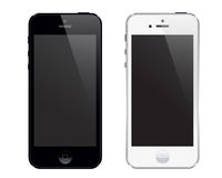 Iphone 5. An illustration of latest iphone. both black and white phones. An additional Vector .Eps file available. (you can use elements separately vector illustration