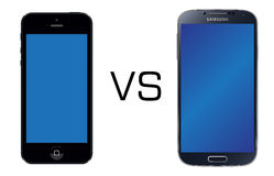 Iphone 5 black vs Samsung Galaxy S4 black. Iphone 5 vs Samsung Galaxy S4 isolated in white background Stock Photos