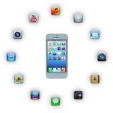 IPhone 5 con aplicaciones Imágenes de archivo libres de regalías