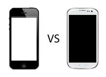 Iphone 5 contra la galaxia s3 de Samsung Foto de archivo libre de regalías