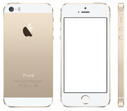 Iphone 5 gold Vector. Iphone 5s Vector, Front, back and side. With blank screen vector illustration