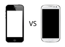 Iphone 5 vs Samsung galaxy s3. Isolated in white background Royalty Free Stock Photo