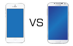 Iphone 5 white vs Samsung Galaxy S4 white. Iphone 5 vs Samsung Galaxy S4 isolated in white background Royalty Free Stock Photos