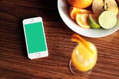 iPhone Apple Fruit Orange Lime Drink Wood Table Bowl Royalty Free Stock Photos