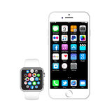 IPhone 6 and apple watch. The new Apple Watch or iWatch is the most personal product Apple has ever developed as its the first Apple product designed to be worn Stock Image