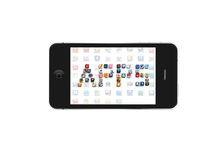 Iphone Apps icon. Iphone application icons forming apps word royalty free illustration