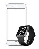 IPhone argenté 6s d'Apple et maquette de Gray Apple Watch Sport de l'espace Photographie stock