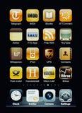 Iphone Bildschirmanzeige mit Ansammlung apps Lizenzfreie Stockbilder