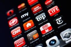 Iphone Bildschirmanzeige mit Ansammlung apps Lizenzfreie Stockfotografie