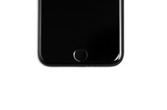 IPhone 7 black matte jetblack detail of new Apple product finger. Print sensor Home button isolated on white Royalty Free Stock Image
