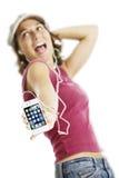 iPhone blanco 4 con la muchacha cantante Imagen de archivo libre de regalías