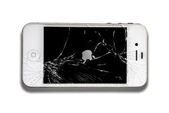 Iphone with broken screen. BANGKOK THAILAND - FEB 20, 2015 : iphone with broken screen on white background stock image