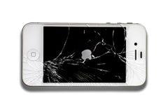 Iphone con la pantalla quebrada Imagen de archivo