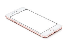 IPhone di Rose Gold Apple 7 bugie del modello sulla superficie con lo schermo in bianco bianco Fotografia Stock