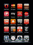 Iphone display with collection of apps Royalty Free Stock Photo
