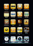 Iphone display with collection of apps Royalty Free Stock Images