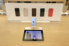 IPhone displayed in an apple store Stock Photo
