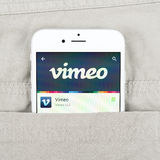 IPhone 6 displaying Vimeo application Royalty Free Stock Photo